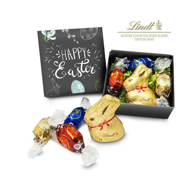 Geschenkartikel / Präsentartikel: Lindt Osternest - Goldhase und 3 Lindor Mini-Eier, auch in individueller Schachtel