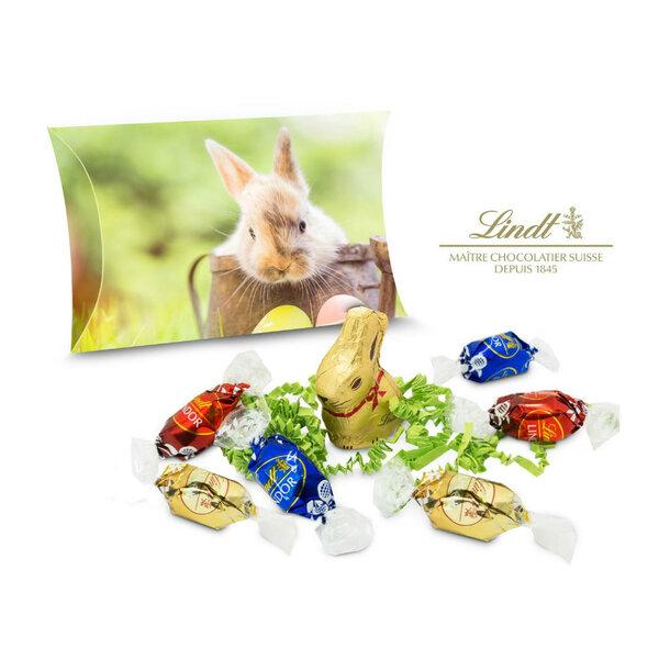 Geschenkartikel / Präsentartikel: Lindt Ostertasche inkl. Lindt-Goldhase - auch in individueller Kissenverpackung