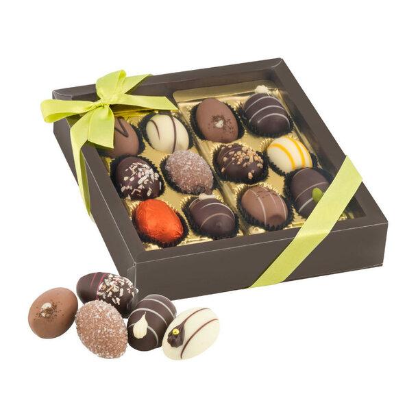 Geschenkartikel / Präsentartikel: Oster-Präsent Pralineneier - 12 Confiserie-Eier, 240 g