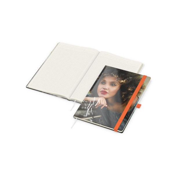 Match-Book Creme A4 bestseller, gloss-individuell, orange