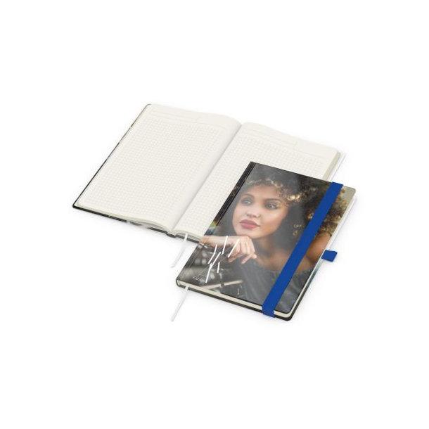 Match-Book Creme A5 bestseller, gloss-individuell, mittelblau