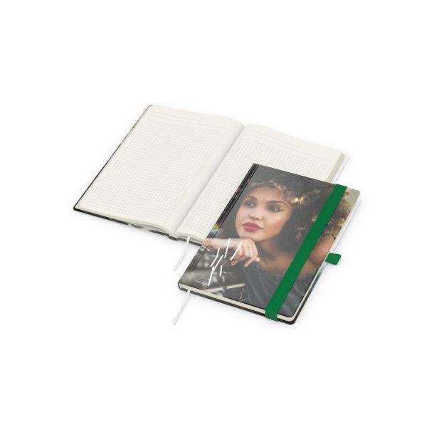 Match-Book Creme A5 bestseller, matt-individuell, grün