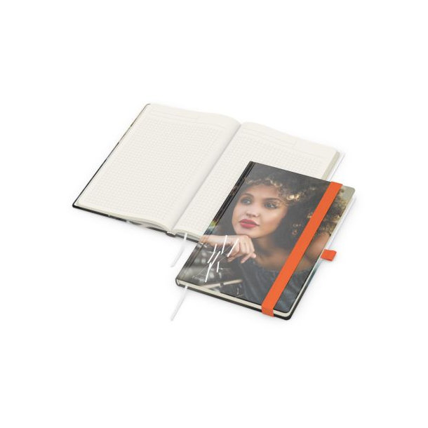 Match-Book Creme A5 bestseller, matt-individuell, orange