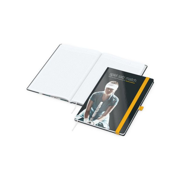 Match-Book White A4 bestseller, gloss-individuell, gelb