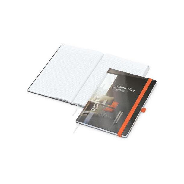 Match-Book White A4 bestseller, gloss-individuell, orange