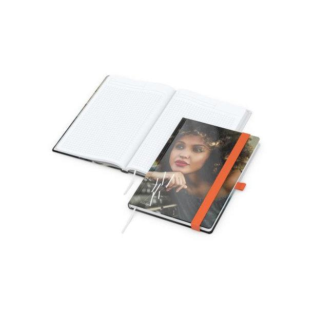 Match-Book White A5 bestseller, gloss-individuell, orange