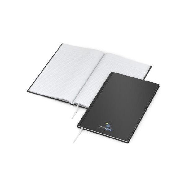 Memo-Book A5 bestseller, matt-schwarz,  Siebdruck-Digital